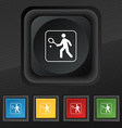 Tennis player icon symbol Set of five colorful vector image vector image
