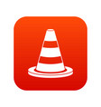 traffic cone icon digital red vector image
