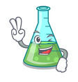 Two finger science beaker character cartoon