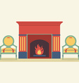 Vintage Chairs And Fireplace Living Room Interior vector image