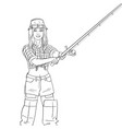 woman fisher on the river girl fisherman object vector image
