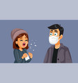 woman not wearing a mask sneezing in public vector image vector image