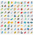 100 fund icons set isometric 3d style vector image