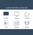 6 painting icons vector image vector image