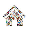 a group of people in a shape of house ico vector image vector image