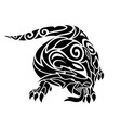 black and white tattoo art with terrible lizard vector image vector image