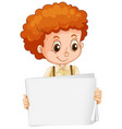 blank sign template with cute boy on white vector image vector image