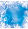 blue background with music notes and snowflakes vector image