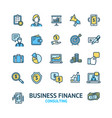 business consulting signs color thin line icon set vector image