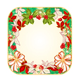Button square Christmas Spruce with white bows vector image vector image