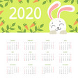 calendar 2020 monthly calendar with cute funny vector image