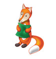 cartoon fox with pillow vector image vector image