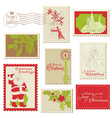 christmas vintage stamp collection vector image