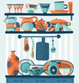 cooking shelf kitchen utensils for food vector image vector image