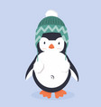 cute penguin characters with hat vector image vector image