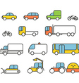 Different transport silhouette icons collection vector image vector image