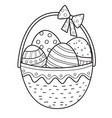 easter basket outline with eggs and bow vector image