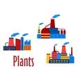 Flat factories and plants icons vector image