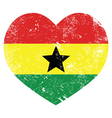 Ghana retro heart shaped flag vector image vector image