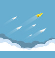 group paper airplanes flying in sky vector image vector image