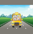 happy children riding a car vector image vector image