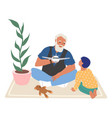 happy grandfather and grandson playing toy game vector image vector image