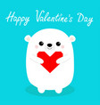 happy valentines day white babear head face vector image vector image