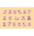 isolated Emoji character cartoon Pig stickers vector image vector image