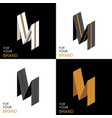 isometric set letter m black white gold palette vector image