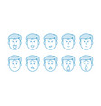 line set people icons vector image