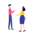 male and female stand and talk gesticulating flat vector image vector image