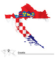 Map of Croatia with flag vector image