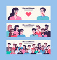 men and women relationship friends and lovers vector image vector image