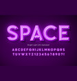 neon light 3d alphabet extra glowing modern font vector image