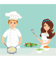 pair of chefs prepares delicious dishes vector image vector image