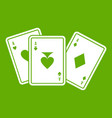 playing cards icon green vector image vector image