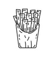 potato fried icon doodle hand drawn or black vector image