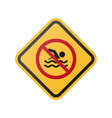 prohibition of swimming in the pool sign vector image