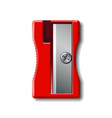realistic 3d red plastic pencil sharpener isolated vector image
