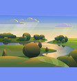 river with green meadows hills landscape vector image