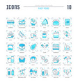 set blue line icons fast food vector image