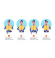 set guidance from steward flight attendant man vector image vector image