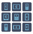 set of icons - mobile devices with pound symbols vector image vector image