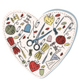 sewing heart pattern vector image vector image