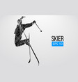 silhouette of skier jumping isolated vector image