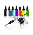 tattoo machine and inks vector image vector image