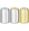 Three aluminum cans without label vector image vector image