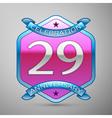 Twenty nineyears anniversary celebration silver vector image vector image