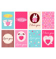 valentine banners with cute animals vector image