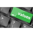 Values sign button on keyboard with soft focus vector image vector image